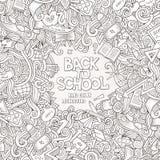 Συρμένο χέρι σχολικό πλαίσιο doodles κινούμενων σχεδίων διανυσματικό Στοκ Φωτογραφίες