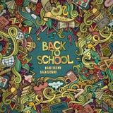 Συρμένο χέρι σχολικό πλαίσιο doodles κινούμενων σχεδίων διανυσματικό Στοκ εικόνα με δικαίωμα ελεύθερης χρήσης