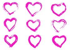 Συρμένο χέρι σύμβολο καρδιών Ελεύθερος, απομονωμένος Ξηρά κτυπήματα βουρτσών διανυσματική απεικόνιση