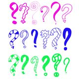 Συρμένο χέρι σύνολο ερωτηματικών doodle Διανυσματική απεικόνιση για το εικονίδιο σας, υπόβαθρο, σχέδιο ταπετσαριών Ύφος σκίτσων κ απεικόνιση αποθεμάτων