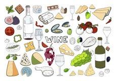 Συρμένο χέρι σύνολο με το κρασί, διαφορετικό τυρί, σταφύλι, λαχανικά που απομονώνονται στο άσπρο υπόβαθρο διανυσματική απεικόνιση