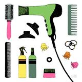 Συρμένο χέρι σύνολο προσδιορισμού τρίχας Στεγνωτήρας τρίχας, βούρτσες γηα τα μαλλιά, ψεκασμοί και scrunchy Προσοχή ομορφιάς σαλον απεικόνιση αποθεμάτων