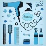 Συρμένο χέρι σύνολο προσδιορισμού τρίχας Στεγνωτήρας τρίχας, βούρτσες γηα τα μαλλιά, ψεκασμοί και scrunchy Προσοχή ομορφιάς σαλον διανυσματική απεικόνιση