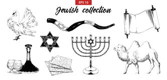 Συρμένο χέρι σύνολο σκίτσων εβραϊκών στοιχείων που απομονώνονται στο άσπρο υπόβαθρο διανυσματική απεικόνιση
