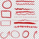 Συρμένο χέρι σύνολο εικονιδίων βελών και κύκλων Συλλογή του μολυβιού ske Στοκ φωτογραφία με δικαίωμα ελεύθερης χρήσης