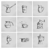 Συρμένο χέρι σύνολο εικονιδίων καφέ Στοκ Εικόνες
