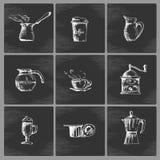 Συρμένο χέρι σύνολο εικονιδίων καφέ Στοκ φωτογραφία με δικαίωμα ελεύθερης χρήσης