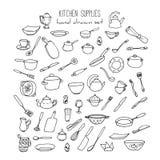Συρμένο χέρι σύνολο εργαλείων κουζινών Διανυσματική απεικόνιση σκευών για την κουζίνα διανυσματική απεικόνιση