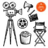 Συρμένο χέρι σύνολο κινηματογράφων ελεύθερη απεικόνιση δικαιώματος