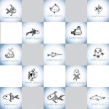 Συρμένο χέρι σύνολο λογότυπων ψαριών διανυσματικό Στοκ φωτογραφία με δικαίωμα ελεύθερης χρήσης