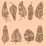 Συρμένο χέρι σύνολο φτερών Doodle Στοκ Φωτογραφίες