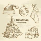 Συρμένο χέρι σύνολο Χριστουγέννων Στοκ φωτογραφία με δικαίωμα ελεύθερης χρήσης