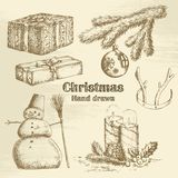 Συρμένο χέρι σύνολο Χριστουγέννων Στοκ Εικόνες