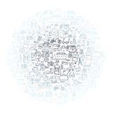 Συρμένο χέρι ταξίδι, διανυσματική απεικόνιση στοιχείων τουρισμού doodles Στοκ Φωτογραφία