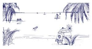 Συρμένο χέρι τοπίο παραλιών Τροπικό θέρετρο με την καρέκλα και την ομπρέλα γεφυρών, την παραλία άμμου, τους εξωτικούς φοίνικες κα διανυσματική απεικόνιση