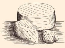 Συρμένο χέρι τυρί Στοκ εικόνα με δικαίωμα ελεύθερης χρήσης