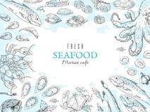 Συρμένο χέρι υπόβαθρο θαλασσινών Αφίσα εστιατορίων ψαριών, γαστρονομικός πίνακας γευμάτων, θαλάσσια αγροτική αφίσα Διανυσματικά ω ελεύθερη απεικόνιση δικαιώματος