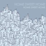 Συρμένο χέρι υπόβαθρο με τα σπίτια doodle Στοκ Φωτογραφίες