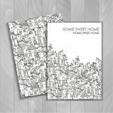 Συρμένο χέρι υπόβαθρο με τα σπίτια doodle Στοκ εικόνες με δικαίωμα ελεύθερης χρήσης