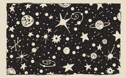 Συρμένο χέρι υπόβαθρο νυχτερινού ουρανού ύφους γρατσουνιών Διάστημα, αστέρια και πλανήτες διανυσματική απεικόνιση