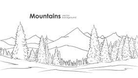 Συρμένο χέρι υπόβαθρο σκίτσων βουνών με το δάσος πεύκων στο πρώτο πλάνο σχεδιάστε τη γραμμή στοκ εικόνα με δικαίωμα ελεύθερης χρήσης