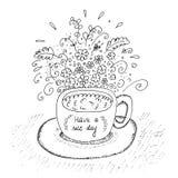 Συρμένο χέρι φλυτζάνι με το Μαύρο λουλουδιών στο λευκό επίσης corel σύρετε το διάνυσμα απεικόνισης Στοκ Εικόνες