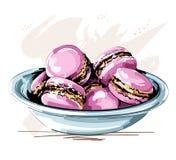 Συρμένο χέρι χαριτωμένο πιάτο με ρόδινα macaroons όμορφα μπισκότα σκίτσο διανυσματική απεικόνιση