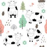 Συρμένο χέρι χαριτωμένο σχέδιο αγελάδων διανυσματική απεικόνιση