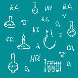 Συρμένο χέρι χημικό διάνυσμα υποβάθρου Στοκ εικόνα με δικαίωμα ελεύθερης χρήσης
