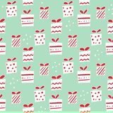 Συρμένο χέρι Χριστουγέννων σχέδιο διακοπών δώρων άνευ ραφής διανυσματικό Στοκ Εικόνες