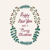 Συρμένο χέρι χρώμα στεφανιών Χριστουγέννων Στοκ εικόνες με δικαίωμα ελεύθερης χρήσης