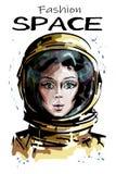 Συρμένο χέρι όμορφο διαστημικό πορτρέτο γυναικών Μοντέρνος θηλυκός αστροναύτης Διαστημικός χαρακτήρας γυναικών στη φόρμα αστροναύ απεικόνιση αποθεμάτων