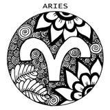 συρμένο χέρι aries διανυσματικό zodiac σημαδιών απεικόνισης επίσης corel σύρετε το διάνυσμα απεικόνισης Απεικόνιση αποθεμάτων