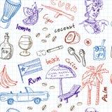 Συρμένο χέρι doodle άνευ ραφής σχέδιο ταξιδιού της Κούβας Στοκ Εικόνες