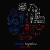 Συρμένο χέρι doodle σύνολο ταξιδιού Δημοκρατίας της Τσεχίας Στοκ Φωτογραφίες
