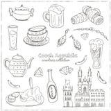 Συρμένο χέρι doodle σύνολο ταξιδιού Δημοκρατίας της Τσεχίας Στοκ Φωτογραφία