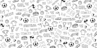 Συρμένο χέρι doodle υπόβαθρο ποδοσφαίρου ή ποδοσφαίρου στοιχεία επίσης corel σύρετε το διάνυσμα απεικόνισης ελεύθερη απεικόνιση δικαιώματος