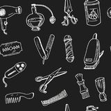 Συρμένο χέρι doodle barbershop άνευ ραφής σχέδιο διανυσματική απεικόνιση