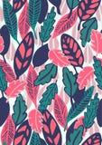 Συρμένο χέρι floral άνευ ραφής σχέδιο με τα φύλλα Στοκ Εικόνα