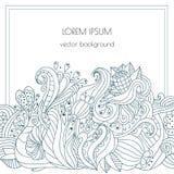Συρμένο χέρι floral σχέδιο Διανυσματικά στοιχεία με τη θέση κειμένων για τις προσκλήσεις και τις κάρτες Henna λουλούδια Στοκ Εικόνες
