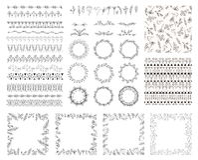 Συρμένο χέρι floral σύνολο για το σχέδιό σας Διανυσματική συλλογή με τα στοιχεία λουλουδιών, στεφάνια, πλαίσια, βούρτσες σχεδίων  Στοκ Εικόνες