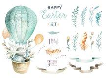 Συρμένο χέρι watercolor ευτυχές Πάσχα που τίθεται με το σχέδιο λαγουδάκι Rabb διανυσματική απεικόνιση