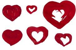 συρμένο χρώμα καρδιών Στοκ εικόνα με δικαίωμα ελεύθερης χρήσης