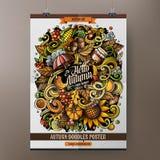 Συρμένο doodles σχέδιο αφισών φθινοπώρου κινούμενων σχεδίων χέρι Στοκ εικόνα με δικαίωμα ελεύθερης χρήσης