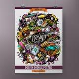 Συρμένο doodles χέρι σχέδιο κινούμενων σχεδίων και σχέδιο αφισών τέχνης Στοκ εικόνα με δικαίωμα ελεύθερης χρήσης