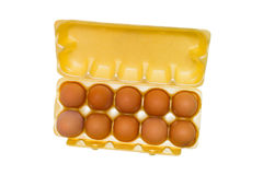 Συσκευάζοντας αυγά πλέγματος κιβωτίων αυγών που απομονώνονται Στοκ εικόνα με δικαίωμα ελεύθερης χρήσης