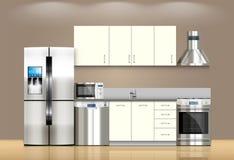 Συσκευές και έπιπλα κουζινών διανυσματική απεικόνιση