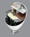 Συσκευές και έπιπλα σπιτιών σε μια λάμπα φωτός των οδηγήσεων Έννοια ζωής οικολογίας απεικόνιση αποθεμάτων