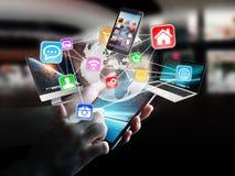 Συσκευές και εικονίδια τεχνολογίας που συνδέονται με τον ψηφιακό πλανήτη Γη Στοκ Εικόνες