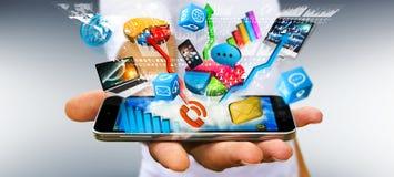 Συσκευές και διαγράμματα τεχνολογίας εκμετάλλευσης επιχειρηματιών στο χέρι του Στοκ εικόνες με δικαίωμα ελεύθερης χρήσης